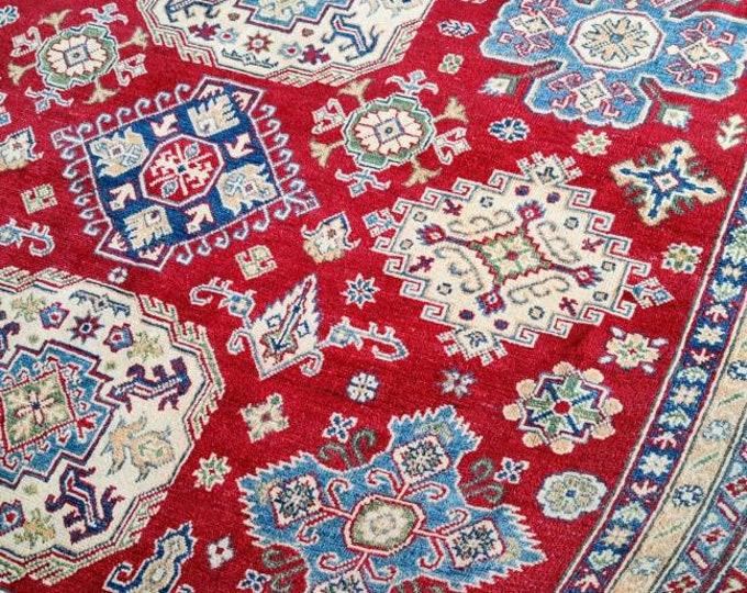 Kazak Rug 8.2X9.11 Ft antique distressed persian rug, entrance rug, turkish towel, carpet bag purse, fringe rug, kitchen rug, nomadic rug