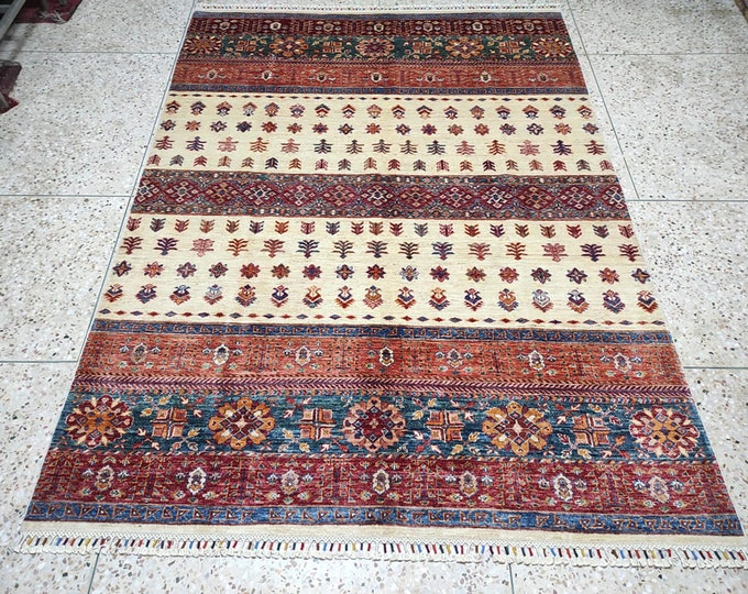 5x8 Afghan area rug, carpet bag purse, hooked rugs large, tribal rug, sumak rug, antique distressed, persian rug, nursery decor, chindi rug