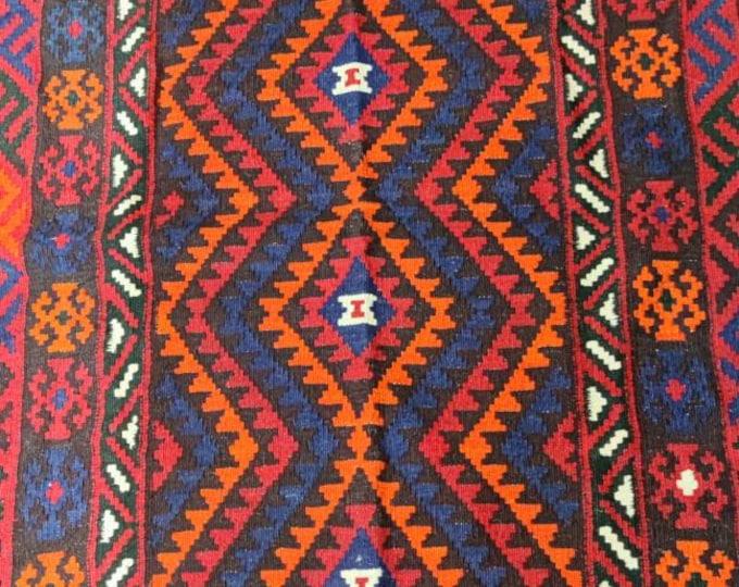 Vintage rug Afghan Maimana Kilim Rug, Red Afghan Rug, Wool Area Rug, Handmade kilim rug, Red Rug Persian red Rug, Kitchen rug