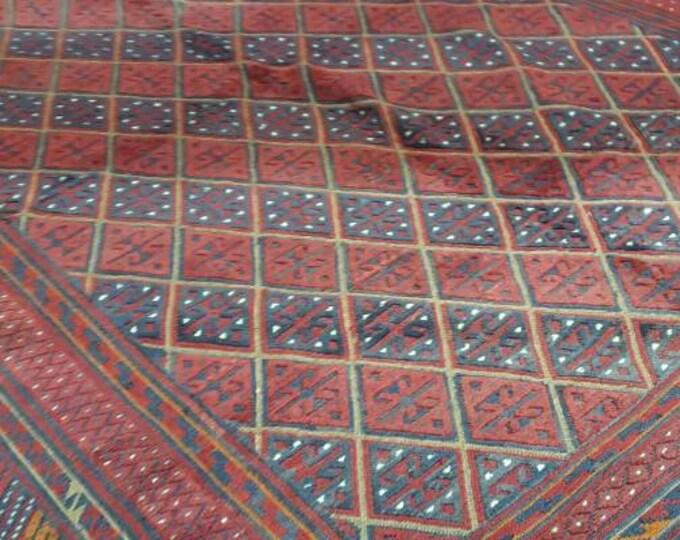 7X8.11 Mushwani Afghan Rug,Small Handwoven Kilim Rug, Kilim Rug,Turkish Kilim Rug,Pink Kilim Rug,Kitchen Rug,Boho Kilim Rug,Sumac Kilim Rug