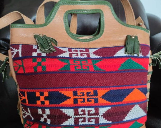 Kilim Backpack, Afghan Leather Geometric bag, Unisex Design Morocco, Handmade Backpack, Leather Bag, Moroccan Style, Hippie Leather Backpack