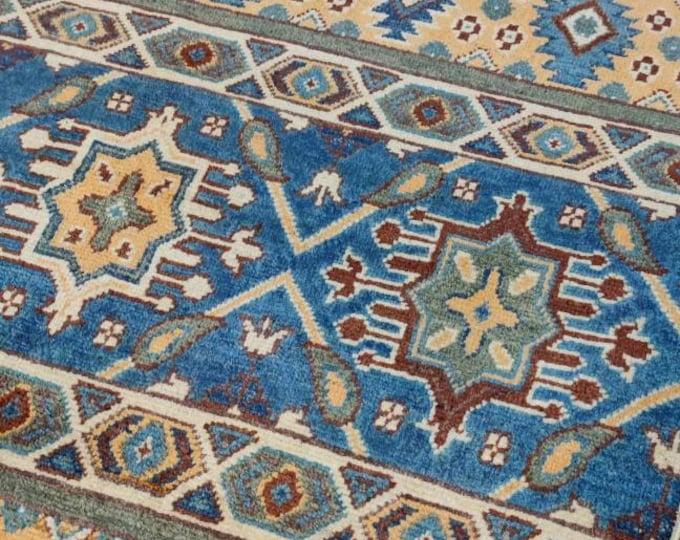 Kazak Rug 3'4X4'10 Ft Afghan Caucasian Rug   Area Rug Large   Vintage Rug   Afghan rug   Persian rugs   Turkmen rug   kilim rugs