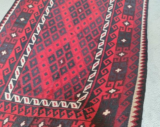 Runner Vintage Afghan Kilim Rug, Afghan Maimana Large Kilim, Flatweave Kilim, Geometric Design Kilim Rug, Persian Kilim Rug