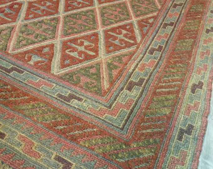 4.11x5.11 Ft Barjasta Afghan kilim rug,Bidsize tribal Kilim rug, nomadic Afghan Tribal mushwani kilim rug, 100% wool nomadic kilim rug