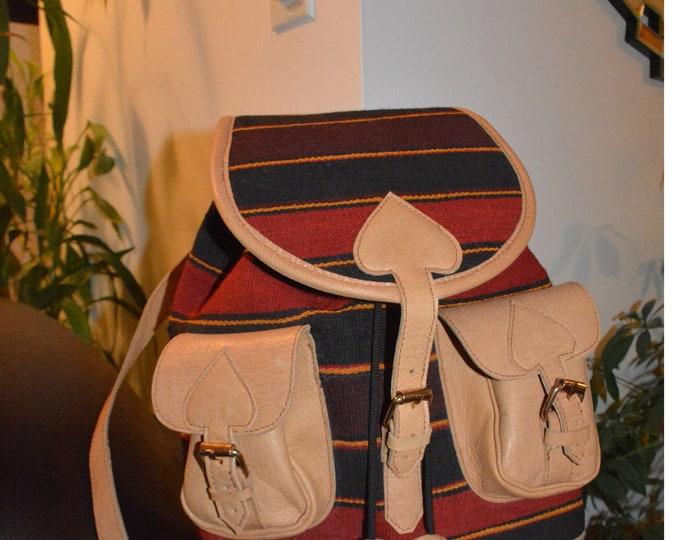 Leather Bag, Afghan Bag, Kilim Back pack,canvas backpack,Kilim canvas back pack,Unique design Kelim Leather Bag Handmade Gifts For Women