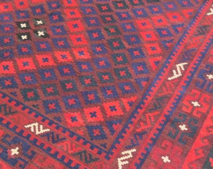 Vintage rug Afghan Kilim rug 6'7X7'3 Ft Maimana Kilim Rug, bokhara rug, vintage flower shape rug, area rug, morocco rug, traditional rug