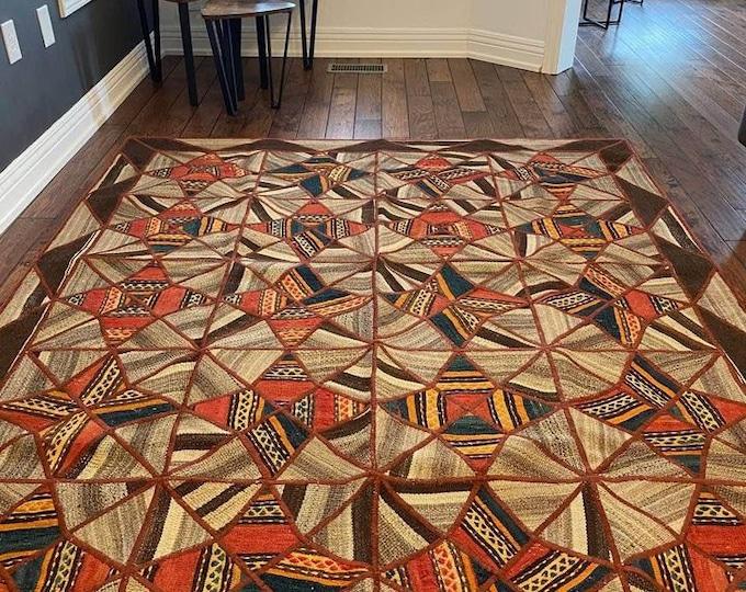 "Turkish Patchwork Area kilim rug | bohemian rug | patchwork rug | Turkish rug | Rug for livingroom | 5'92"" x 7'33"" ft | kilim Rug |"