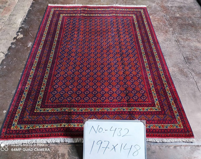 5x7 Ft Afghan Modern Handmade Bokhara Brand New large red blue area rug, tribal rug, red persian carpet, Living room rug, Turkish style,