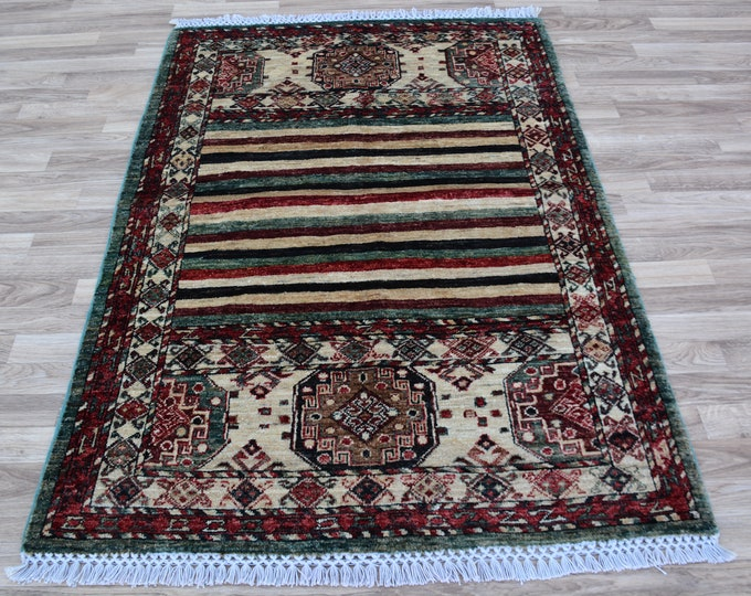 SOFT beautiful 4'9x3'3 ft Modern design tightly hand knotted Afghan Chobi oriental rug