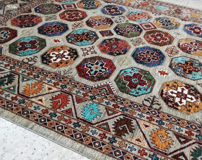8x11 Ft Merinos Afghan large Chibi rug, Well-made Soft Geometric Hand-knotted Rug, Handmade rug, Large rug,Bohemian rug, Wool rug, Red Rug