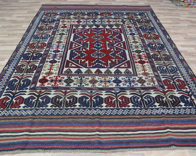 6'4X8'11 Ft Barjasta Afghan kilim rug,Bidsize tribal Kilim rug, nomadic Afghan Tribal mushwani kilim rug, 100% wool nomadic kilim rug