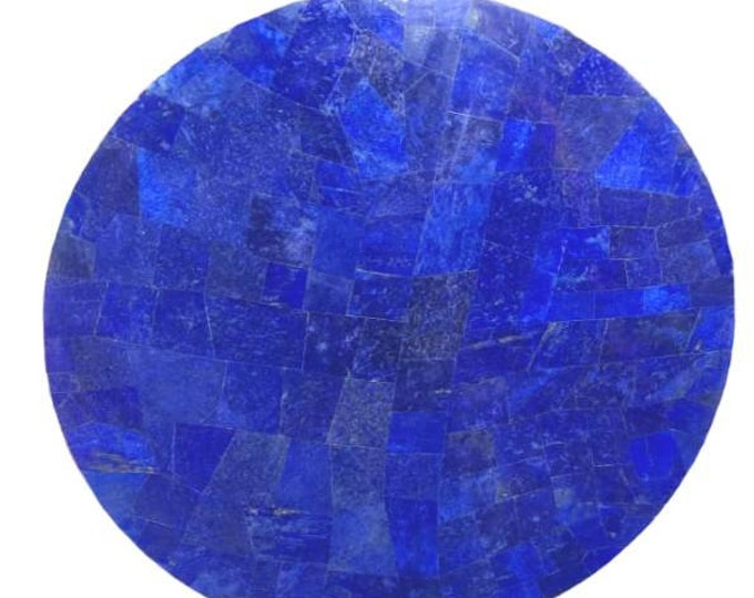 Round Shape Lapis Lazuli Table Top with White Marble 23.62 Inches from Afghanistan,