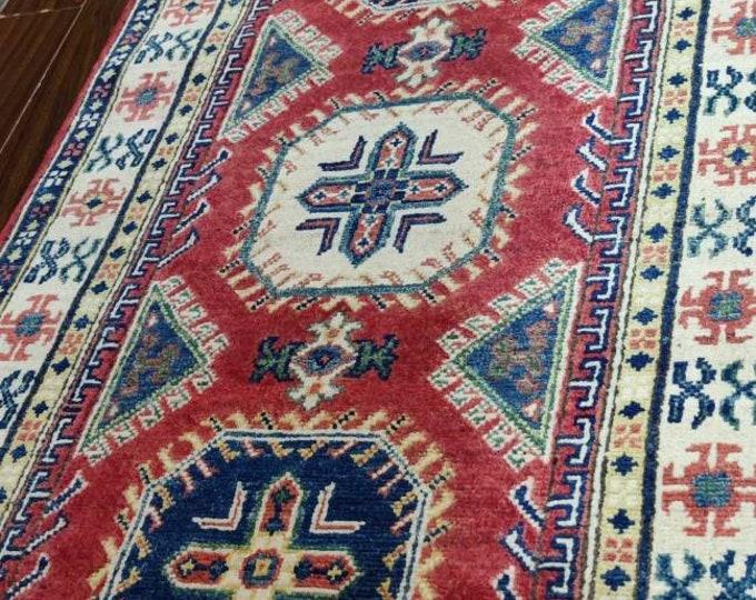 Runner rug Kazak Rug 2.8X10 Ft fringe rug, tribal rug, oushak vintage rugs, sheepskin rug, vintage rug, entrance rug, aztec rug, modern
