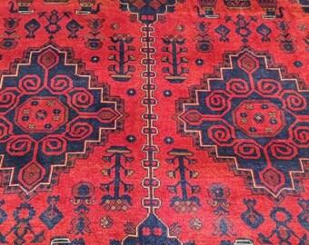 7x10 vintage flower shape rug, teal rug, abstract rug, scandinavian decor, leather bags, colorful rug, small rug, red rug, deco -handmade