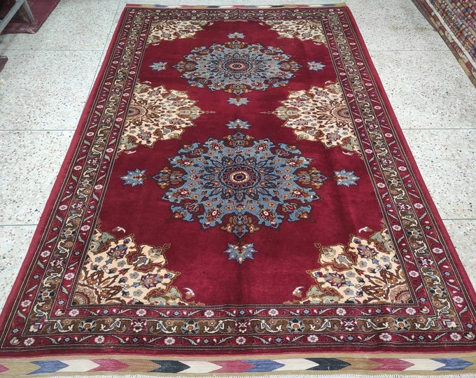6'6X9'9 Ft Highest quality Double Knotted Beljik Soft Well-made Afghan Merino Handmade Area Rug, Hand-knotted Oriental Geometric Rug