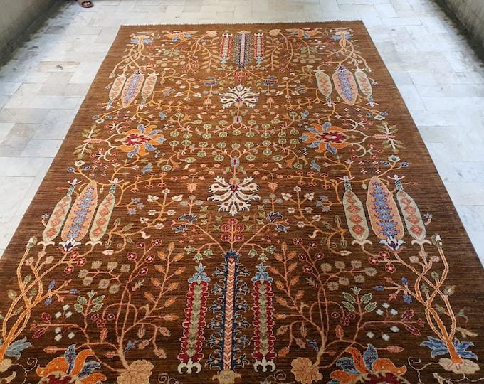 7x10 office rug, bohemian rug, persian rug, small rug, rugs for living room, fringe rug, deco -handmade, vintage flower shape rug, aztec rug