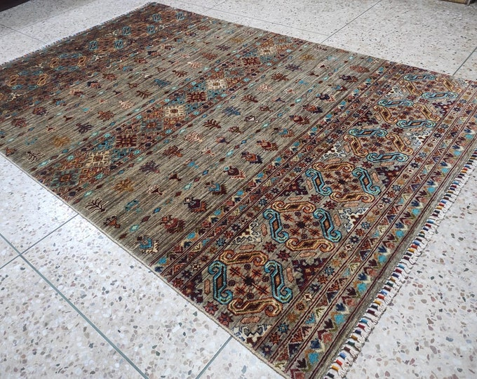 5x8 Persian Design Well-made Soft wool Small oriental Rug, Bedroom Rug, Besides Bed Rug, Afghan Rug, Wool Rug natural wool rug, floor decor