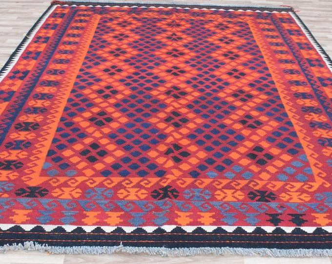 9'11x7'2 ft Soft Well-made Afghan Maimana Rug Kitchen Office, Carpet Flat Woven Kilim Rug Handwoven Flat woven Kilim Rug