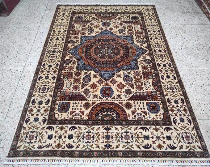 6X8 Rug Hand Knotted Mamluk Design Rug - Area Rug Bedroom - Oriental Living Room Rug - Medallion Dining Room Rugs, Turkish rugs - Persian