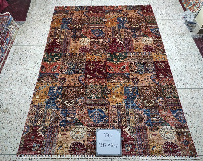 7x10 southwestern rug, small rug, faded rug, wool rug, hand hooked rug, turkish kilim rug, boho rug, navajo rug, oushak vintage rugs, afghan
