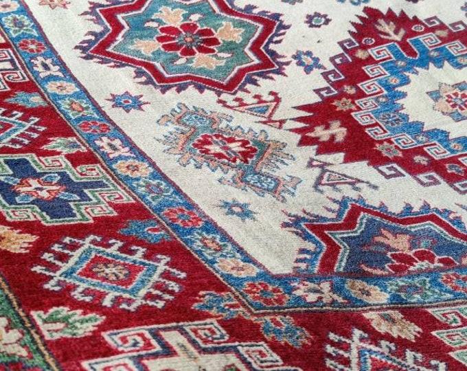 Kazak Rug 6.8X9.9 Ft dusty rose rug, wall hanging, rug runner, decorative rug, abstract accent rug, bedroom rug,teal rug, living room rug