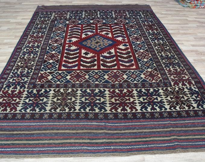 6'4x9'5Ft Barjesta Area Rug, Oushak rug, Baho Rug, Kilims carpet, Vintage rug, turkish rug, large rug, blue rug, oriental rug, oversize rug