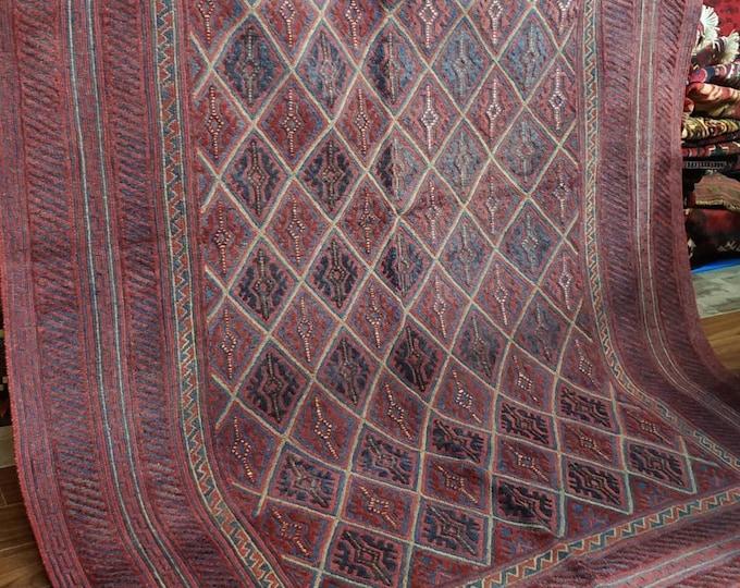 6.4x9.6 Mushwani Afghan Rug,Small Handwoven Kilim Rug, Kilim Rug,Turkish Kilim Rug,Pink Kilim Rug,Kitchen Rug,Boho Kilim Rug,Sumac Kilim Rug