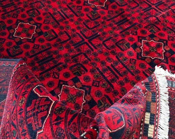 10x13 Ft Excellent Quality Khamyab  Handmade Afghan Rug, Turkman Red Rug, Turkmen Rug, Persian Red Rug, Area Rug, Oriental Rug, Khorasan