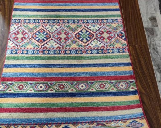 Kazak Rug | Afghan Rug I runner rug | Multicolour runner 3x9 runner Persian runner, Turkish runner halway runner rug stairs runner handmade
