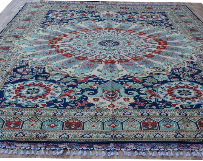 8'5X11'5 Ft Soft Well-made Mreinos Afghan Handmade rug, Natural Dye Area Rug ,Bukhara Rug ,Qandoosi Rug ,Vintage Rug Red,Rug Large,Area Rug