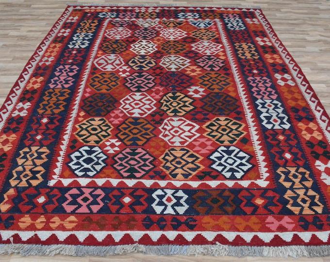 6'10X10 Ft Stunning Vintage Afghan Maimana Red Kilim Rug with Beautiful colors Geometric Design Handwoven Flat woven Big Size Kilim Rug