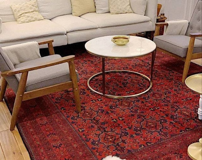 8x11 Afghan rug, persian rug, hand hooked rugs, scandinavian decor, rug runner, war rug, afghan rugs, aztec rug, small rug, chindi rug
