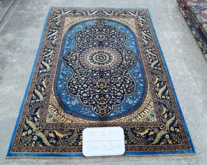 Stunning Persian design made with High-quality of Afghan Ghazni wool, large room sized rug oriental style low pile Rug Area Rug, Blue Rug