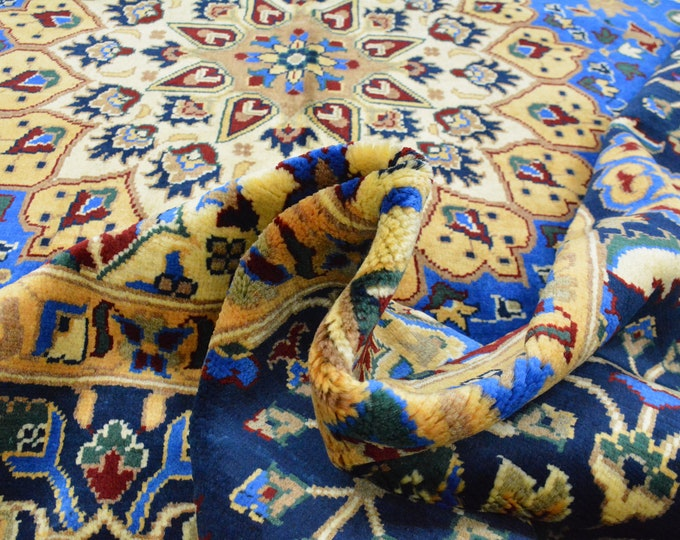 Well-made Extremely soft stunning Persian design made with High-quality Ghazni wool, large room sized rug Blue Rug Floral Rug Afghan Rug