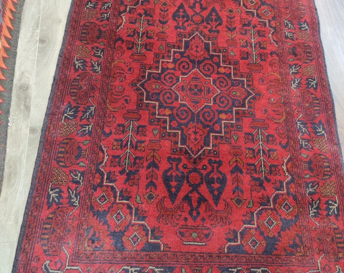 Stunning Well-made Afghan Khalmohammadi Runner Rug made with Soft Sheep Wool on a Wool foundation, Runner, Hallway Runner, Woolen Runner Rug