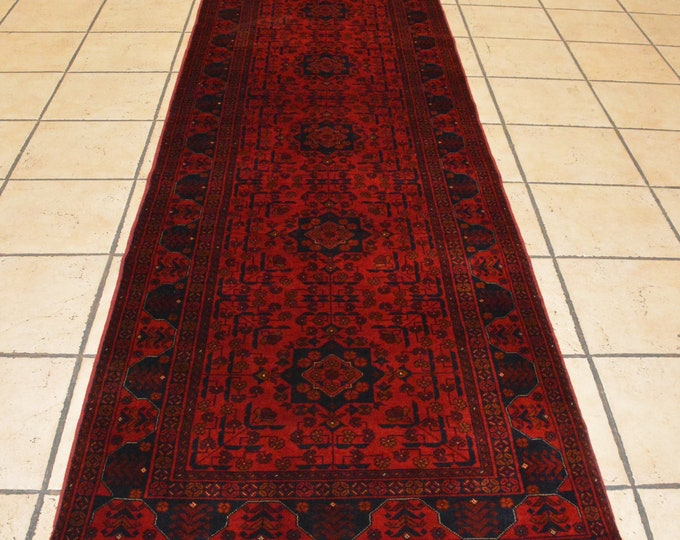 Highest quality Double Knotted Beljik Soft Well-made Afghan Merino Wool Handmade Red Runner Rug, Hand-knotted Fine Rug