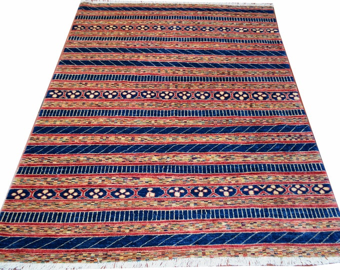 6'2 by 4'9 Ft Beautiful Afghan Gabbeh Natural Dye Wool Rug, Modern style Hand-knotted Wool Rug