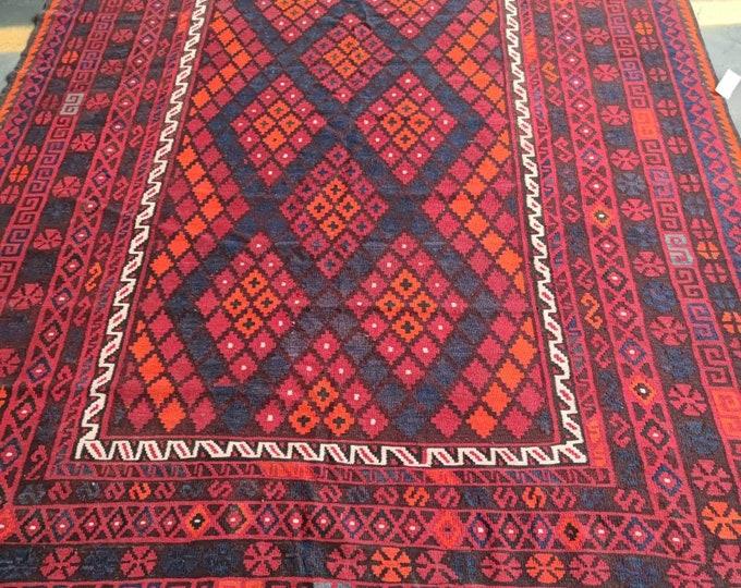 Afghan Kilim Rug, Handmade Kilim Rug, Maimana Kilim Rug, Vintage Kilim Rug, Wool Pink Kilim Rug, Area Kilim Rug,