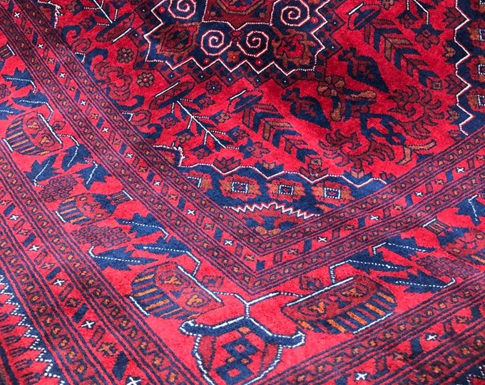 5X7 Ft Highest quality Double Knotted Beljik Soft Well-made Afghan Merino Handmade Area Rug, Hand-knotted Oriental Geometric Rug