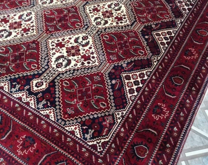 6.6X9.7 Ft Highest quality Double Knotted Beljik Soft Well-made Afghan Merino Handmade Area Rug, Hand-knotted Oriental Geometric Rug