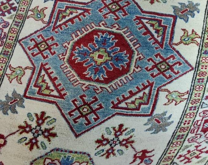 Kazak Rug 3'6X4'11 Ft Afghan Caucasian Rug   Area Rug Large   Vintage Rug   Afghan rug   Persian rugs   Turkmen rug   kilim rugs