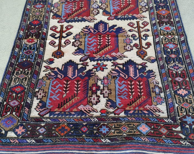 4'3X5'10  Stunning Barjasta Afghan kilim rug Bidsize tribal Kilim rug nomadic Afghan Tribal mushwani kilim rug 100% wool nomadic kilim rug