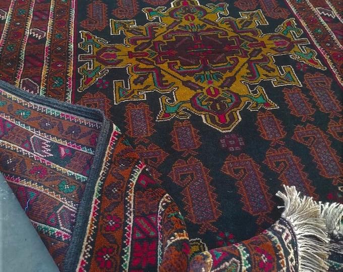 4x7 Afghan rug, southwestern rug, large floor rugs, hand made rug, rugs for living room, fringe rug, turkish rug, wool rug, oriental rug