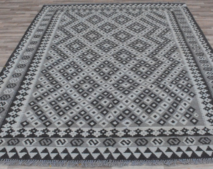 6'2 x 9'8 Ft Soft Well-made Afghan Maimana Faded Rug for Living room Kitchen Carpet Flat Woven Kilim Rug Handwoven Flat woven Kilim Rug
