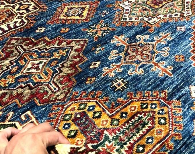 "Handmade Super Kazak Afghan Area Rug 8'11"" X 9'73"