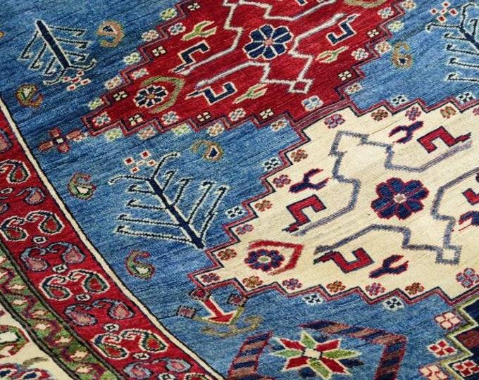 Handmade 5 x 4.7 Ft. Afghan Kilim | Handmade Rug | Accent Rug | Tribal Rug | Living Room Rug | Bed Room Rug | Organic Rug | Woolen Kazak Rug