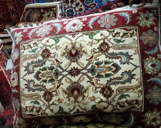Set of Four Decorative Pillows,Pillow Cover, Beige Pillow, Custom Pillow Afghan Pillows ,Handknotted Pillows, Pillows,Handmade Pillow