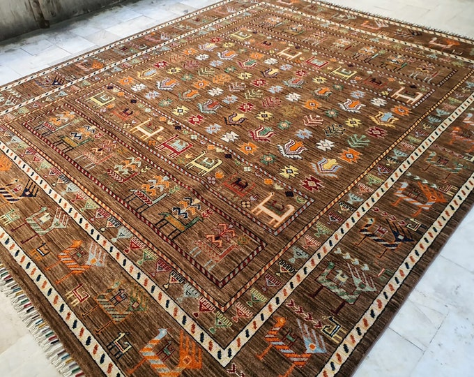 7x10 neutral oriental rug, nursery decor, bokhara rug, carpet bag purse, area rug, red rug, oriental rug, small rug, vintage rug,kilim rug