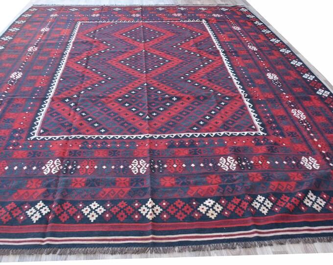 9'5X13'8 Ft Stunning vintage tribal afghan wool maimana kilim rug, Tribal afghan area rug kilim,Kilim rug, Afghan Big Size Kilim Rug