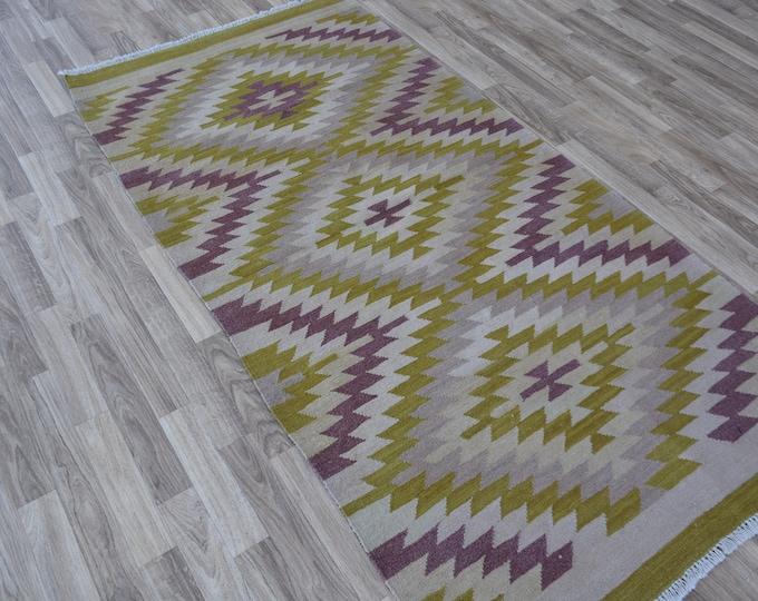 Chobi Kilim Afghan Kilim Rug - Hand-knotted Wool Boho Rug in Green, pink colors for living room or office - Traditional Persian kilim rug